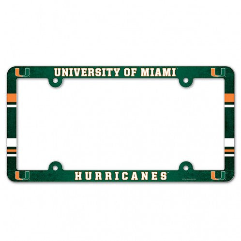 Miami Hurricanes License Plate Frame - Green