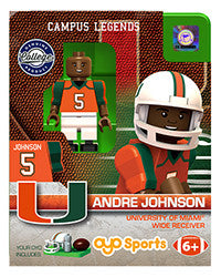 Miami Hurricanes Oyo Minifigure Generation 1 - Andre Johnson - CanesWear at Miami FanWear Toys & Games St. Louis Wholesale CanesWear at Miami FanWear