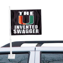 Miami Hurricanes Car Flag Invented Swagger Black