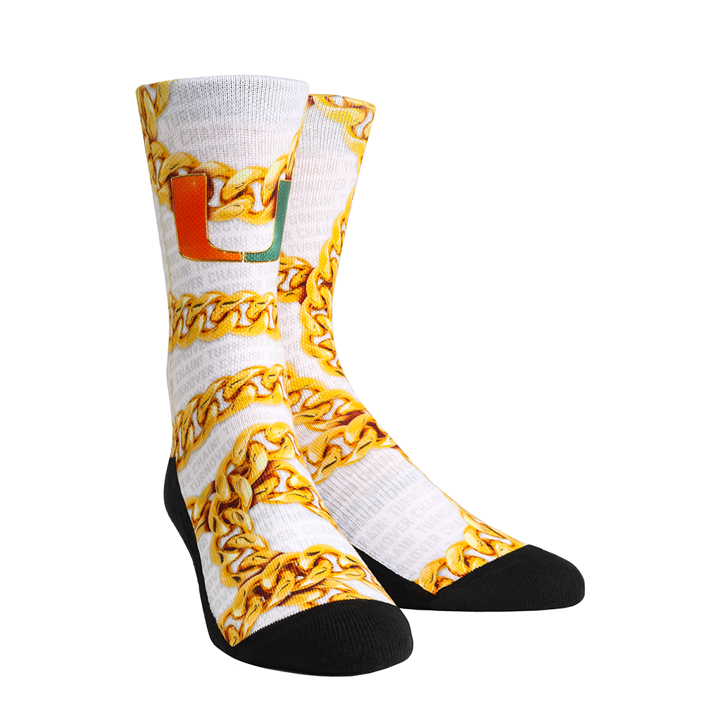 Miami Hurricanes Turnover Chain Rockem Socks -White