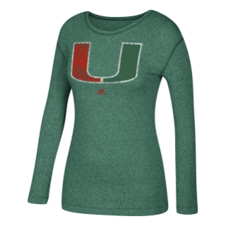 Miami Hurricanes adidas Women's LS Tri-Blend Logo Shirt - Green