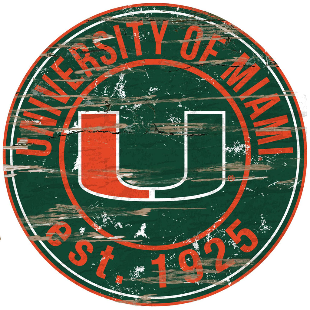 Miami Hurricanes Distressed Round Sign - 24""