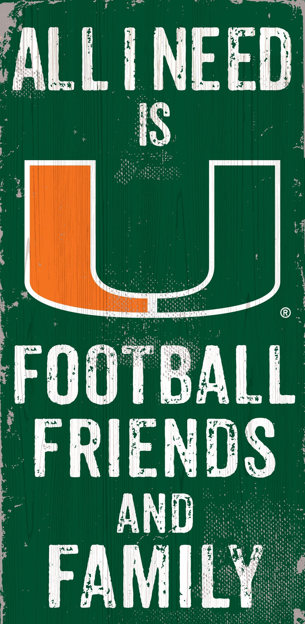 Miami Hurricanes Football, Friends, & Family Wooden Sign - 6 x 12""