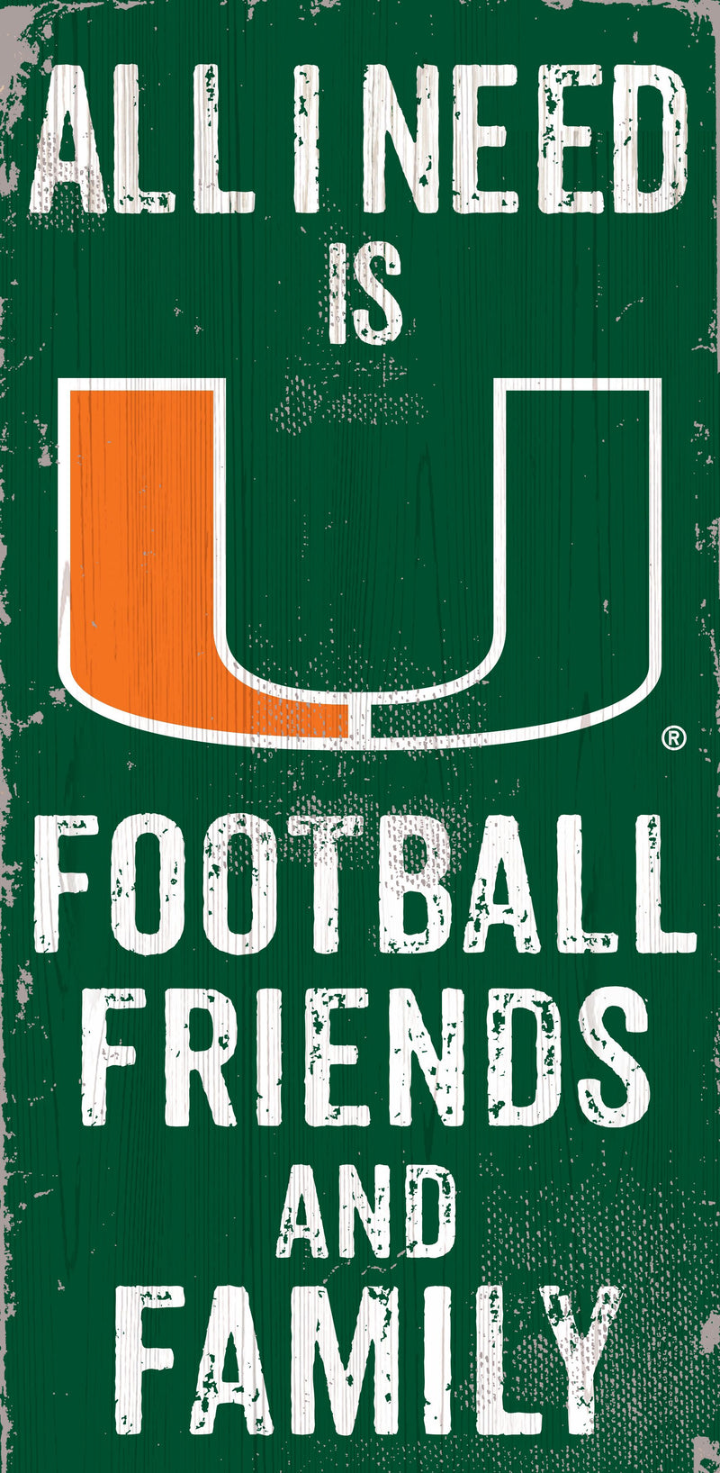 Miami Hurricanes Football, Friends, & Family Wooden Sign - 6 x 12