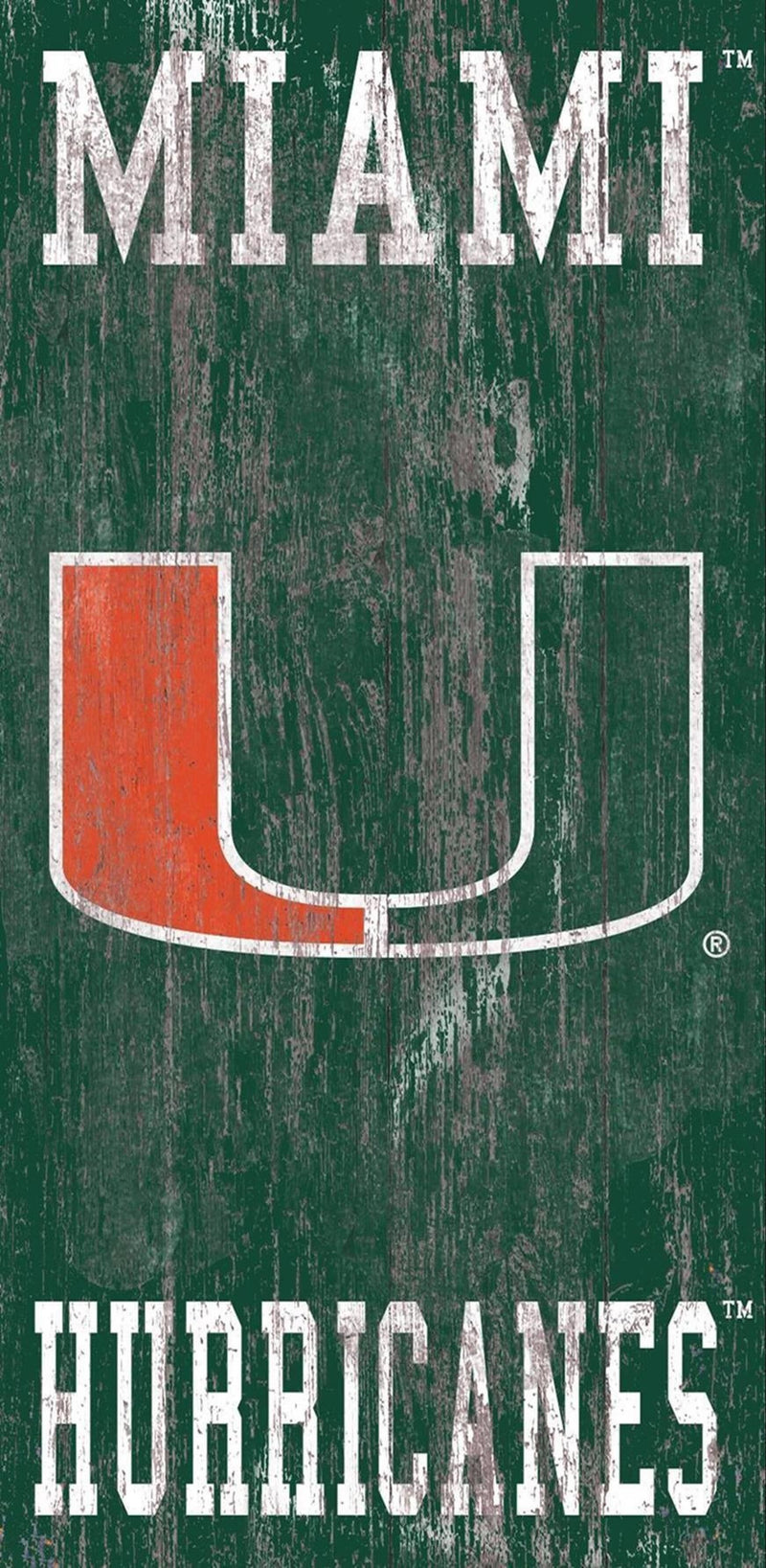 Miami Hurricanes Heritage Distressed Logo Wooden Sign - 6