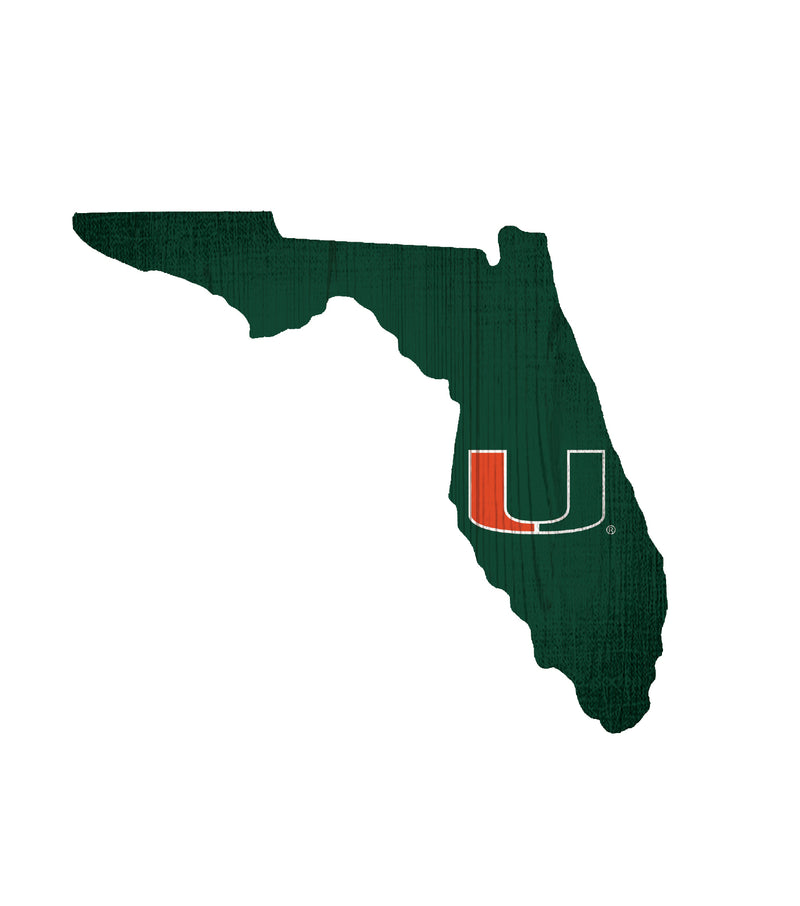 Miami Hurricanes State of Florida Wooden Sign - 12""