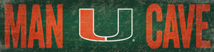 "Miami Hurricanes Man Cave Wooden Sign - 6"" x 24"""