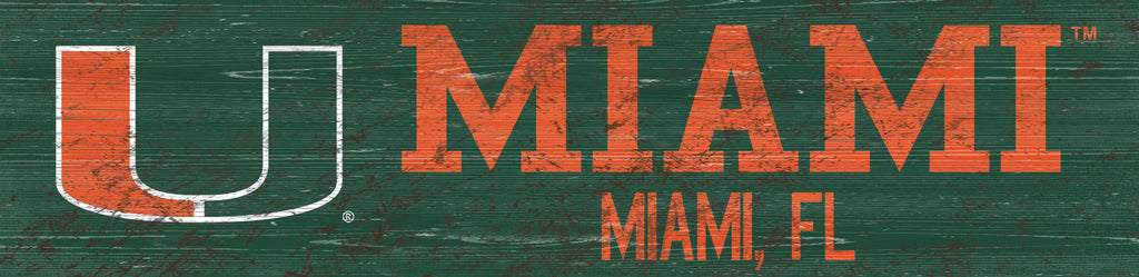 "Miami Hurricanes Team Name Wooden Sign - 6"" x 24"""