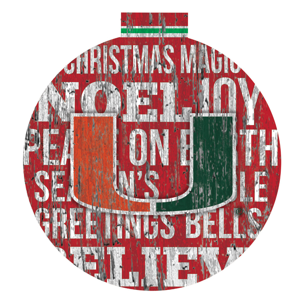 Miami Hurricanes Seasons Greetings Wooden Sign - 12""