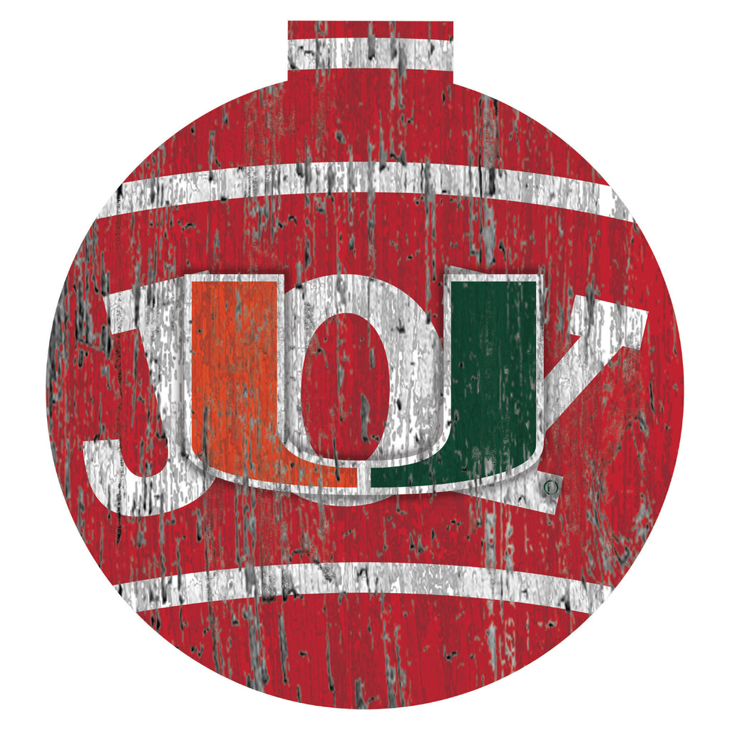 Miami Hurricanes Joy Wooden Sign - 12""