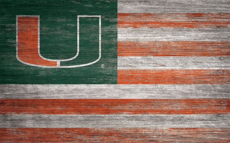 Miami Hurricanes Distressed Flag Wooden Sign