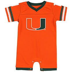 Miami Hurricanes INFANT BOYS ONE TIME FOOTBALL ONESIE ROMPER