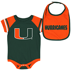 Miami Hurricanes INFANT ROLL-OUT ONESIE & BIB SET