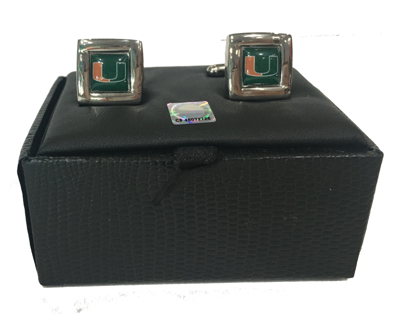 Miami Hurricanes Square Cufflinks - CanesWear at Miami FanWear Jewelry Aminco CanesWear at Miami FanWear