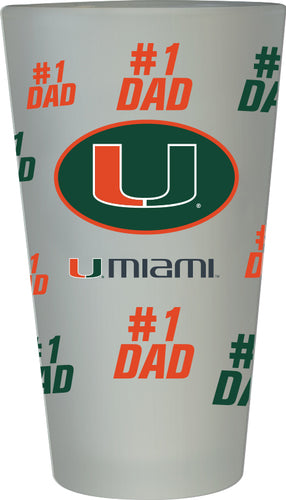 Miami Hurricanes #1 Dad Pint Glass