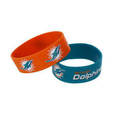 Miami Dolphins NFL Rubber Bracelets - 2 pack - CanesWear at Miami FanWear Accessories Big Apple CanesWear at Miami FanWear