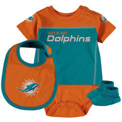 the best attitude a2d16 87613 Miami Dolphins Baby Lil Jersey 3 Piece Bodysuit Set