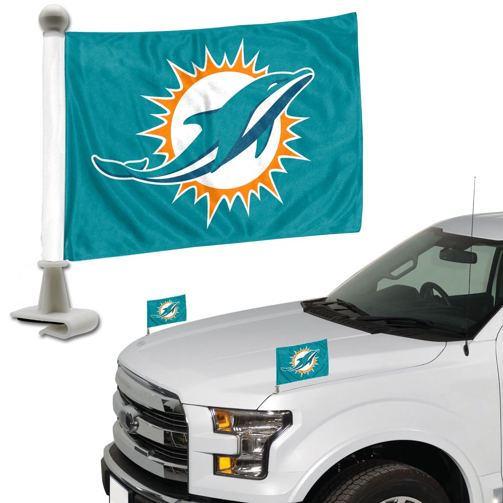 Miami Dolphins Team Ambassador Hood / Trunk Car Flag - Set of 2