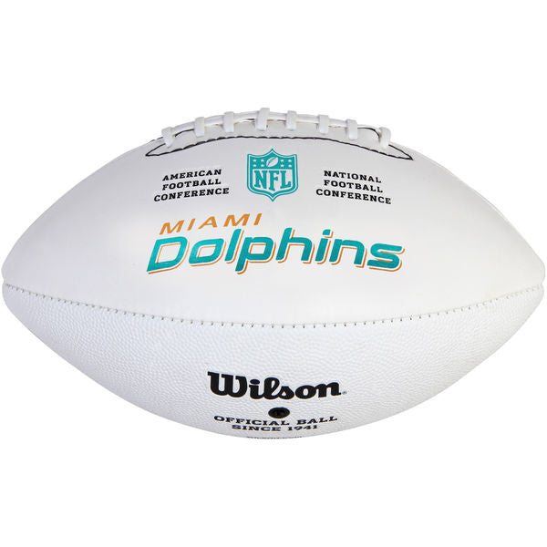 Miami Dolphins Wilson Autograph Football - White - CanesWear at Miami FanWear Home & Office Amer Sports CanesWear at Miami FanWear