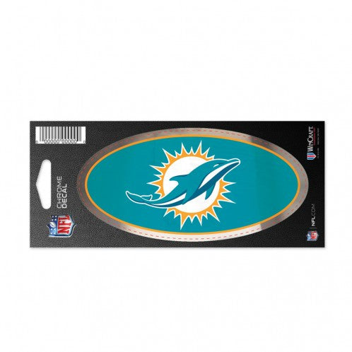 "Miami Dolphins Chrome Decal - 3 x 7"" - CanesWear at Miami FanWear Decals Wincraft CanesWear at Miami FanWear"