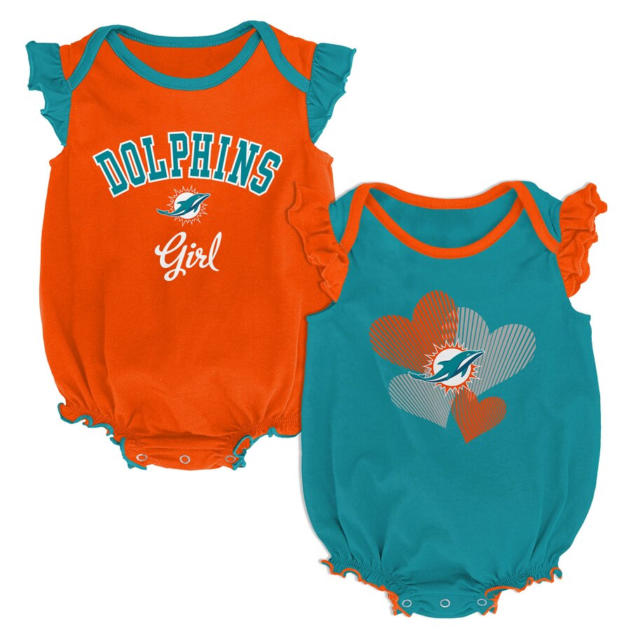 Miami Dolphins Infant Girls 2 Piece Creeper Set