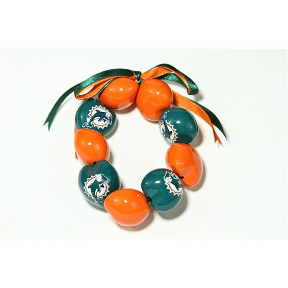 Miami Dolphins Go Nuts Kukui Macrame Bracelet - CanesWear at Miami FanWear Accessories St Louis Wholesale CanesWear at Miami FanWear