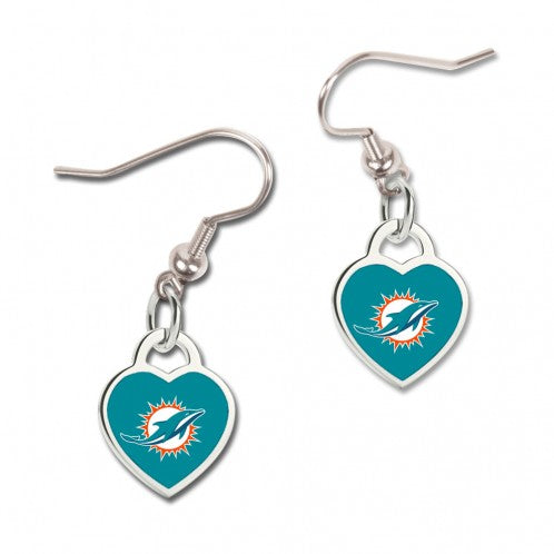 Miami Dolphins Earrings Heart Shaped