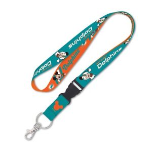 Miami Dolphins Mickey Mouse Lanyard KeyChain