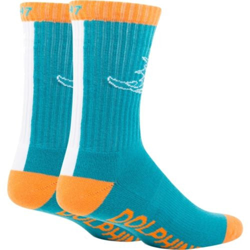 Miami Dolphins Socks 1-pair - Neptune Bolt 47 Sport - CanesWear at Miami FanWear Footwear & Socks 47 Brand CanesWear at Miami FanWear