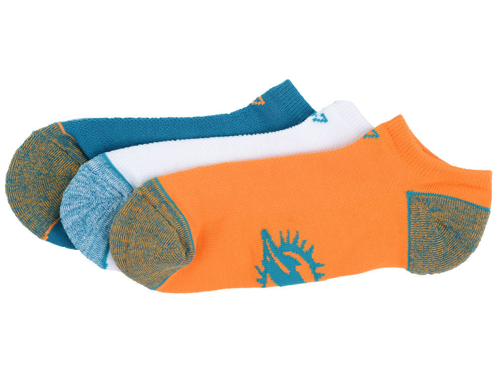 Miami Dolphins Blade 47 Motion 3 Pack No Show Socks