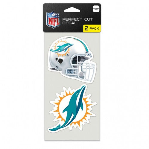 "Miami Dolphins Perfect Cut Decal - 2 Pack 4"" x 4"" - CanesWear at Miami FanWear Decals Wincraft CanesWear at Miami FanWear"