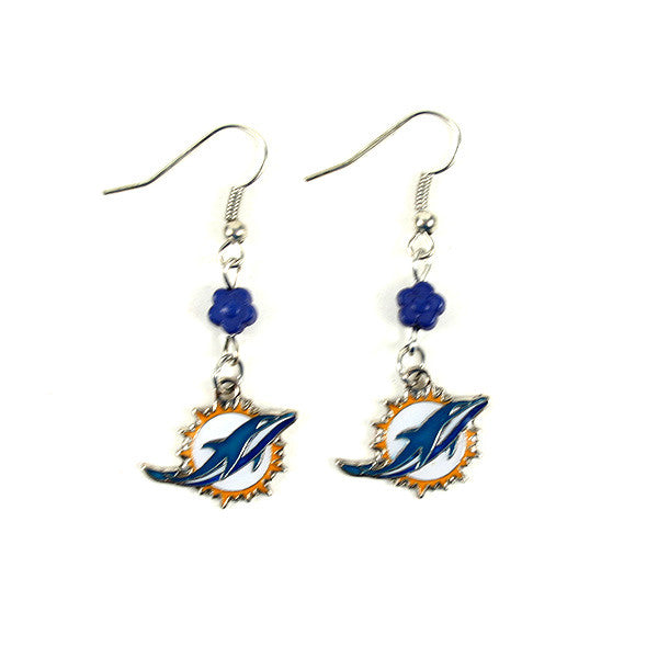 Miami Dolphins Dangle Earrings - CanesWear at Miami FanWear Accessories St. Louis Wholesale CanesWear at Miami FanWear