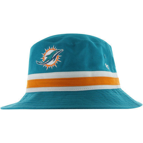 Miami Dolphins Neptune Striped Bucket Bright Hat - CanesWear at Miami FanWear Headwear 47 Brand CanesWear at Miami FanWear