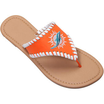 Miami Dolphins Women's Whipstitch Sandals - Orange