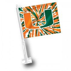 Miami Hurricanes Car Flag - Tie Dye - CanesWear at Miami FanWear Automobile Accessories JayMac Sports CanesWear at Miami FanWear
