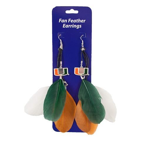 Miami Hurricanes Fan Feather Earrings