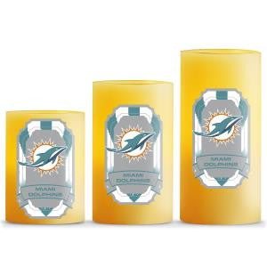 MIAMI DOLPHINS LED LIGHT CANDLE 3 PCS/GIFT SET