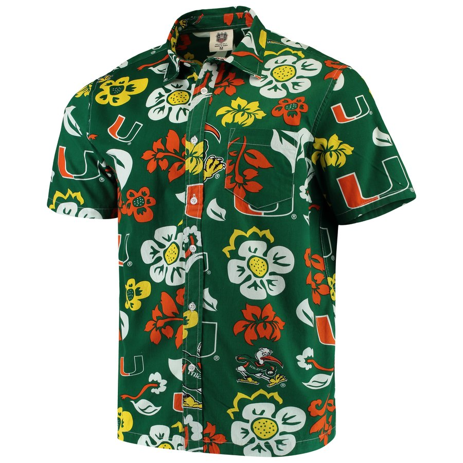 Miami Hurricanes Floral Button Up Evergreen Shirt