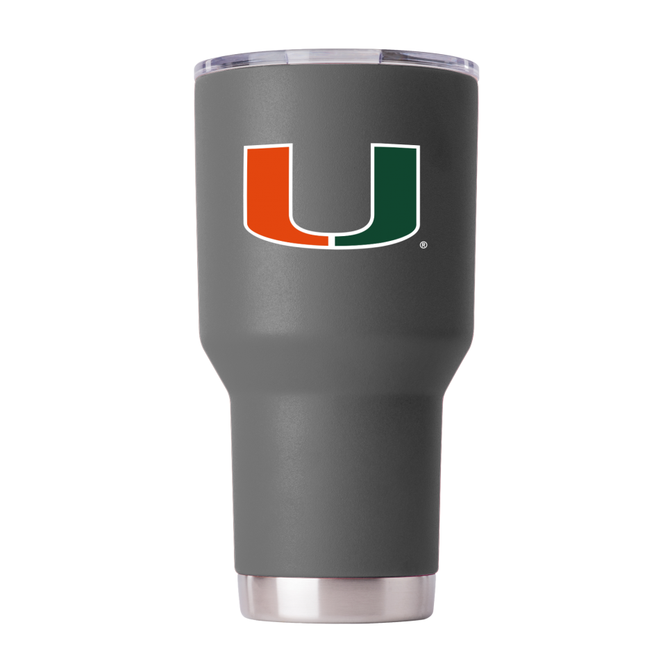 Miami Hurricanes GameTime Sidekicks Powder Coated Gray Tumbler - 30 oz