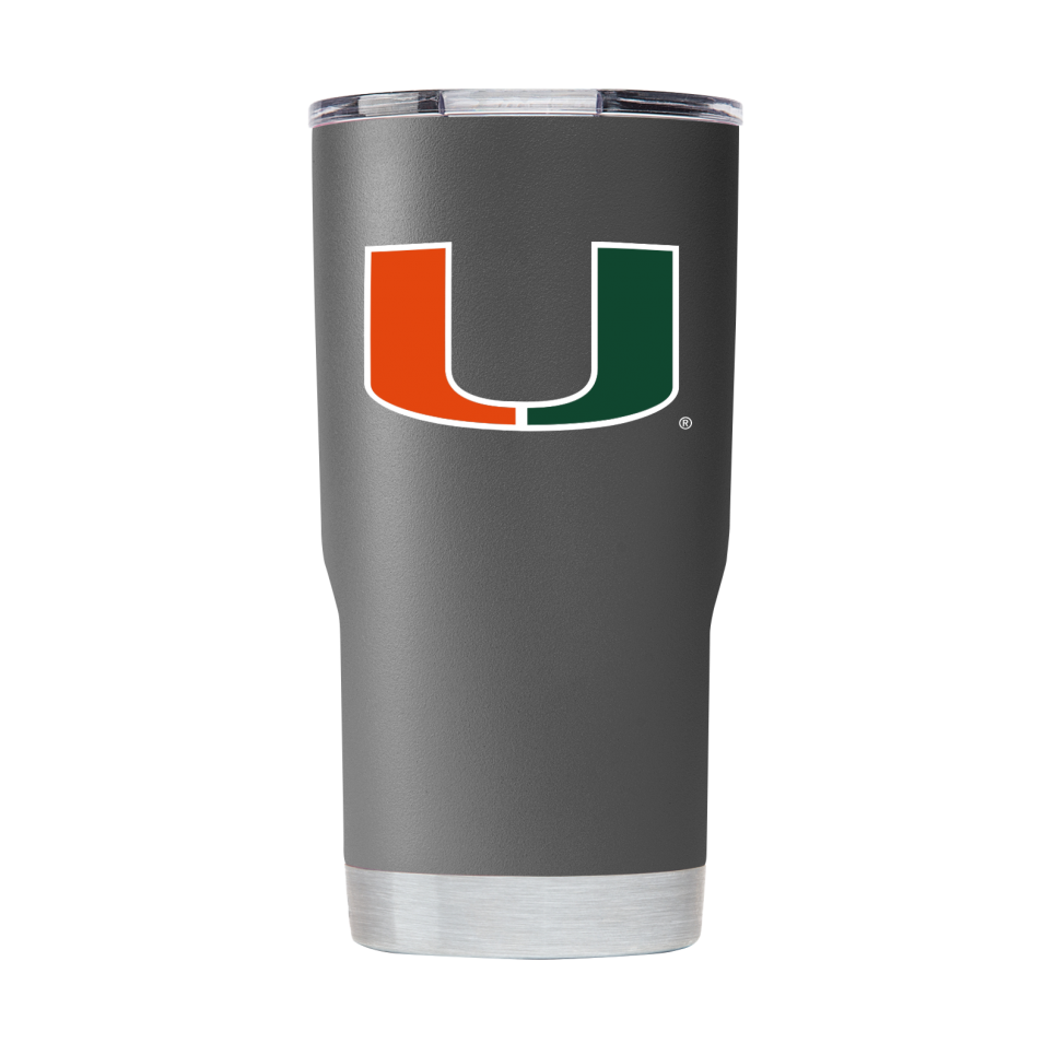 Miami Hurricanes GameTime SideKicks Powder Coated 20 oz Tumbler - Gray