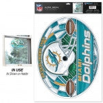 Miami Dolphins Stained Glass Ultra Decal 11 x 17 - CanesWear at Miami FanWear Dolphins WinCraft CanesWear at Miami FanWear