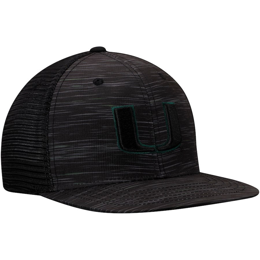 Miami Hurricanes Top of the World Frantic Adjustable Snapback Hat - Black/Green