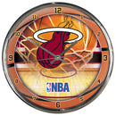 Miami Heat Chrome Round Clock - CanesWear at Miami FanWear Accessories WinCraft CanesWear at Miami FanWear