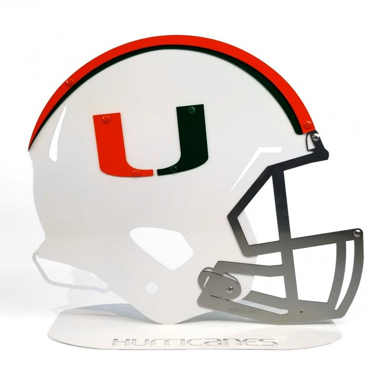 Miami Hurricanes Metal Football Helmet Sign on Oval Base - 18""