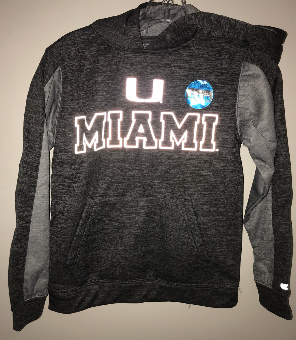 Miami Hurricanes Youth All Mountain Pullover Hoodie - Reflective