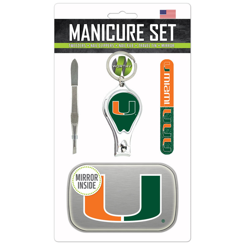 Miami Hurricanes Manicure Set w/ Travel Tin Case