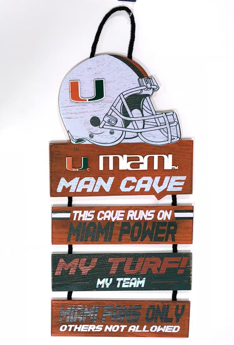 Miami Hurricanes Man Cave Hanging Wood Sign