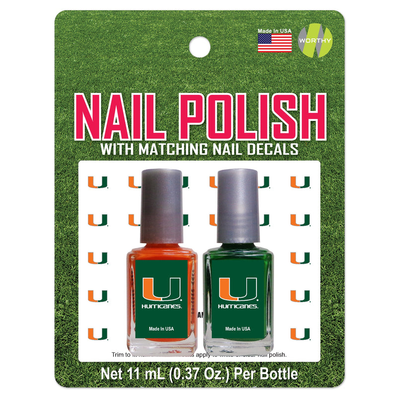 Miami Hurricanes 2-Pack Nail Polish + Nail Decals