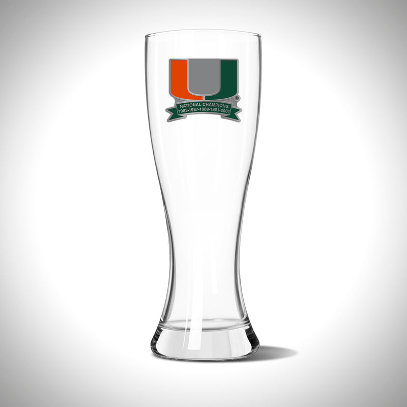 Miami Hurricanes 5 x Champions Pilsner Glass - 23oz
