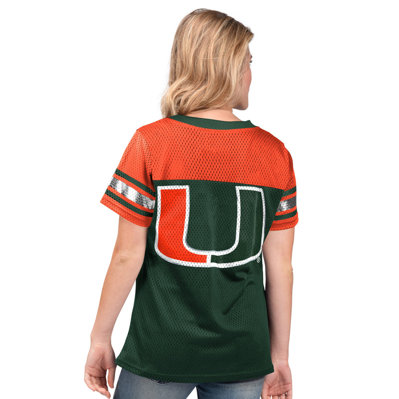 Miami Hurricanes Glll 2019 Women's Mesh Jersey Shirt  -  Green/Orange